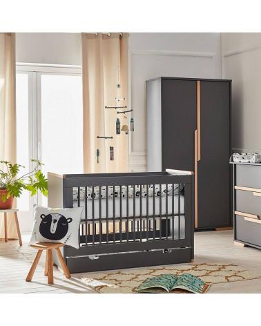 Lit bébé évolutif noir 140x70 collection Snap avec tiroir