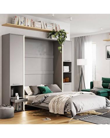 Rangement gris pour lit escamotable avec LED