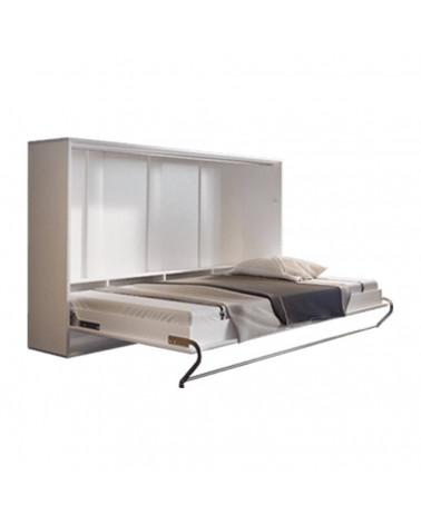 Lit armoire escamotable horizontal - blanc mat