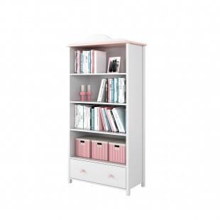 Bibliothèque rose et blanche Luna remplie