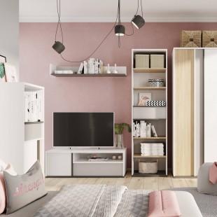 Meuble TV blanc Imola dans une chambre ado