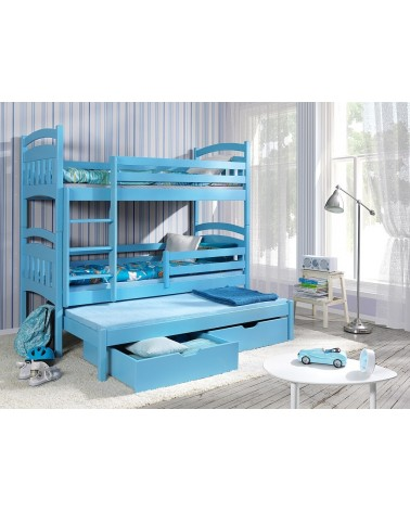Lit enfant superposé bleu avec lit gigogne