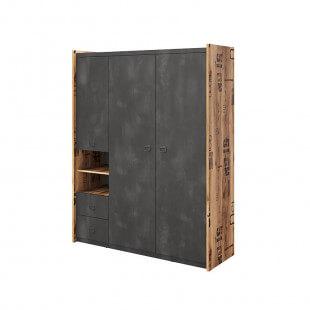Armoire triple Fargo design métal et bois