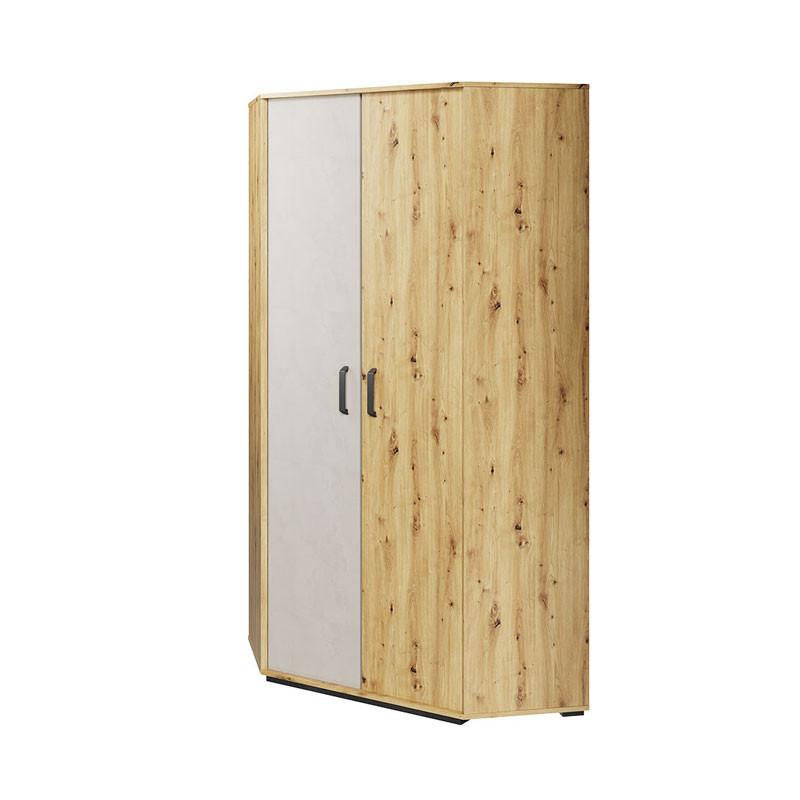 Armoire d'angle Qubic blanc et chêne pour chambre adolescent