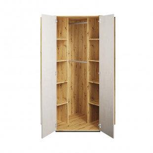 Armoire d'angle Qubic blanc et chêne pour chambre adolescent portes ouvertes