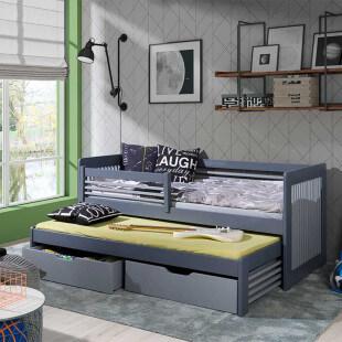 Lit gigogne Anatol gris et graphite personnalisable pour chambre enfant
