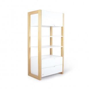 Bibliothèque blanche et pin WOODIE pour chambre enfant