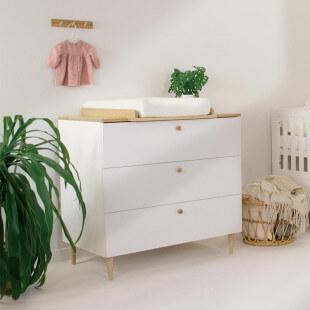 Commode bébé avec plan à langer SCANDI blanc et bois