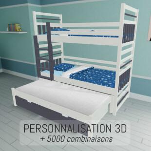 Lit superposé entièrement personnalisable et sur-mesure en 3D