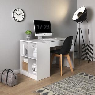 Bureau avec rangements ANTEK en blanc