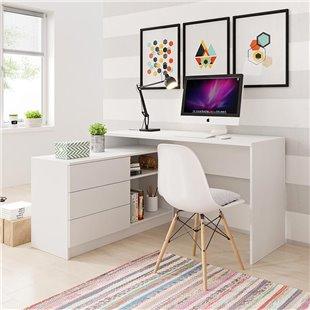 Bureau avec rangements TEO en blanc