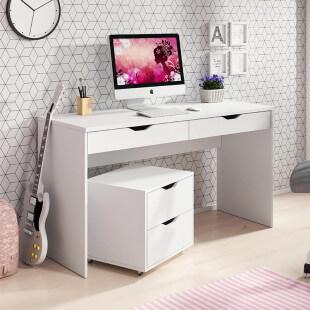 Bureau avec 2 tiroirs MATI en blanc
