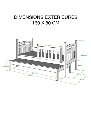 Dimensions 80x160 cm