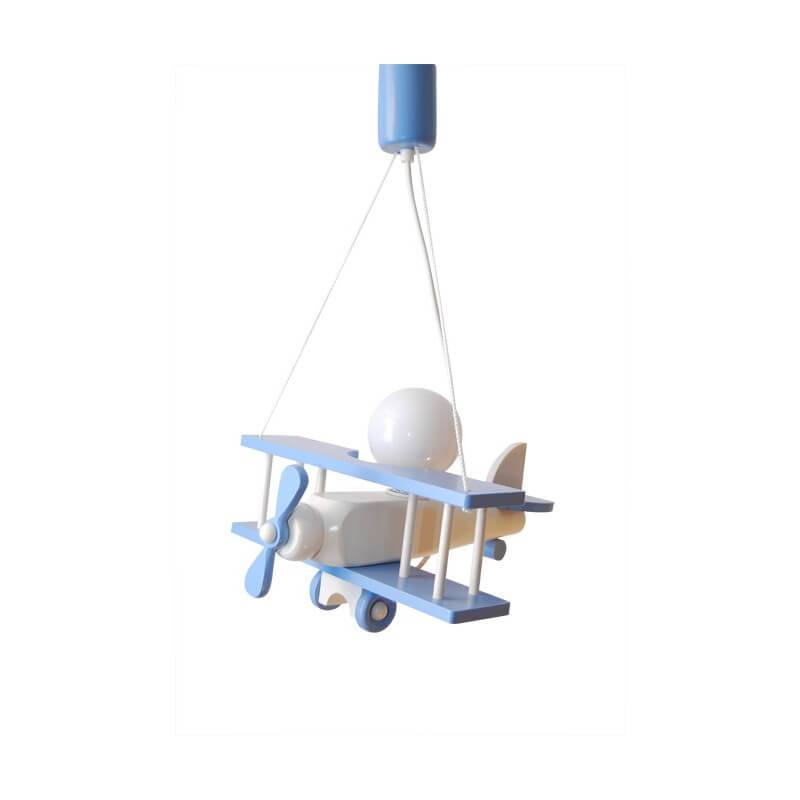 Suspension Petit Avion Bleu / Blanc