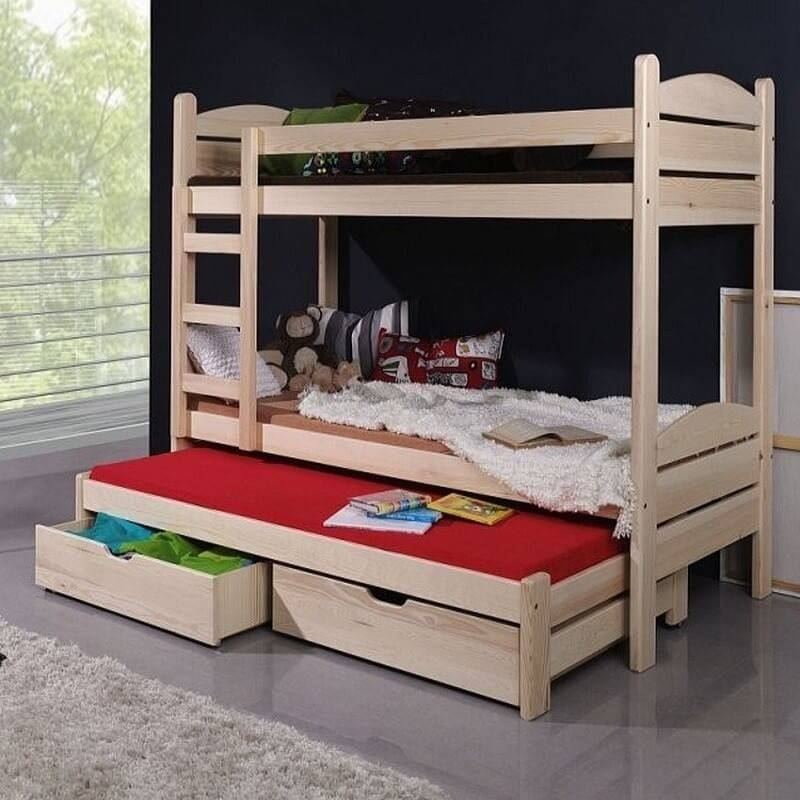 Lit enfant superpos severine avec lit gigogne 3 couchages - Lit superpose avec lit gigogne ...