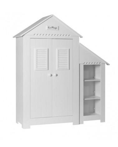 Armoire Cabine de Plage avec Mini Bibliothèque - Blanc