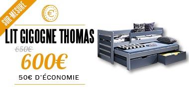 50€ de réduction sur le lit en bois Thomas